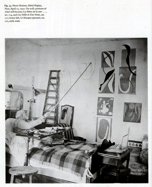 likeafieldmouse:  Henri Matisse never quit Matisse, ailing and bedridden for years, working on his studies for The Rosaire Chapel with a charcoal-tipped stick.