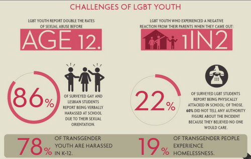 queerability:  Challenges of LGBT youth: LGBT youth report double the rates of sexual abuse before age 12. LGBT youth who experienced a negative reaction from their parents when they came out: 1 in 2 86% of surveyed gay and lesbian students report being verbally harassed at school due to their sexual orientation. 22% of surveyed LGBT students report being physically attacked in school; of those 60% did not tell any authority figure about the incident because they believed no one would care. 78% of transgender youth are harassed in K - 12. 19% of transgender people experience homelessness. From the Gay and Lesbian Task Force and the Human Rights Campaign