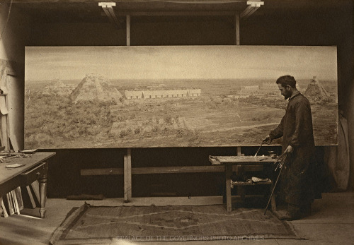 Carlos Vierra Working on Painting for 1915 San Diego Exposition Palace of the Governors, Santa Fe, New Mexico - 1912 Photo By: Jesse Nusbaum Negative #16991