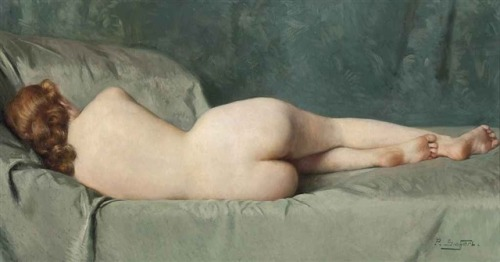 Paul Sieffert (French, 1874-1957), Reclining nude. Oil on canvas, 18 x 34 in. (45.8 x 86.4 cm.)
