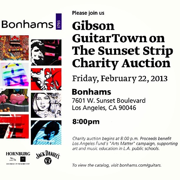 Who's coming?? #SeeYouThere - @gibsonguitar @TheSunsetStrip (at Bonhams & Butterfields)