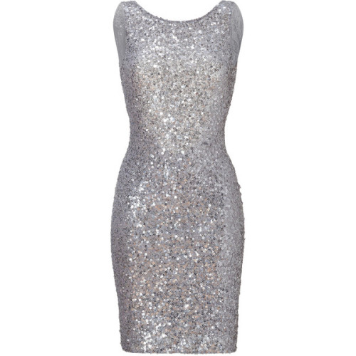 JENNY PACKHAM Light Slate Allover Sequined Dress   ❤ liked on Polyvore (see more scoop neck dresses)