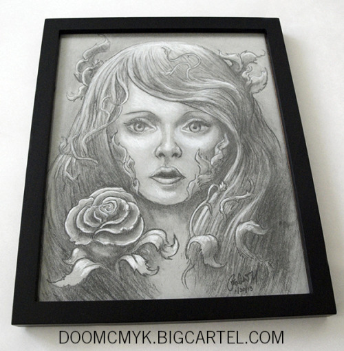 Poison Ivy Framed 8x10 Charcoal drawing - doomcmyk.bigcartel.com