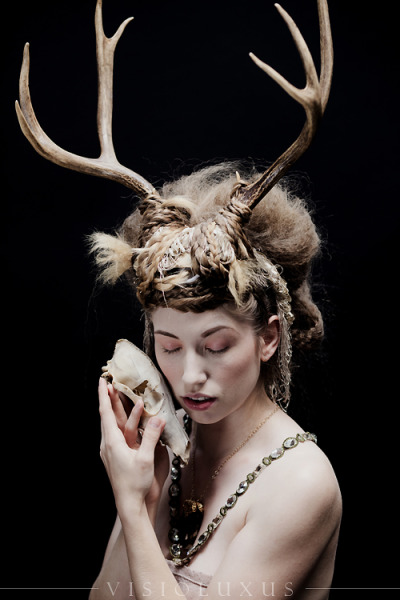 The Fox and the Deer Model: Verronica Mind blowing hair/MU: Gina Campbell The antlers were fairly heavy and still connected to the skull cap. They were secured with some creative tying of a fringed scarf, and then multiple layers of braids. The model could be fairly mobile, she just couldn't lean back too far since all the counterweight was in the front. I had an idea of how the hair should be, but I could have never imagined the fabulous styling that Gina created.