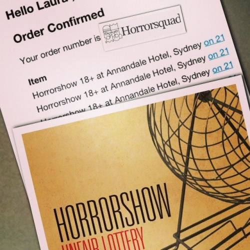 Yay!!! I got tickets to Horrorshows intimate Unfair Lottery show!! So excited!!