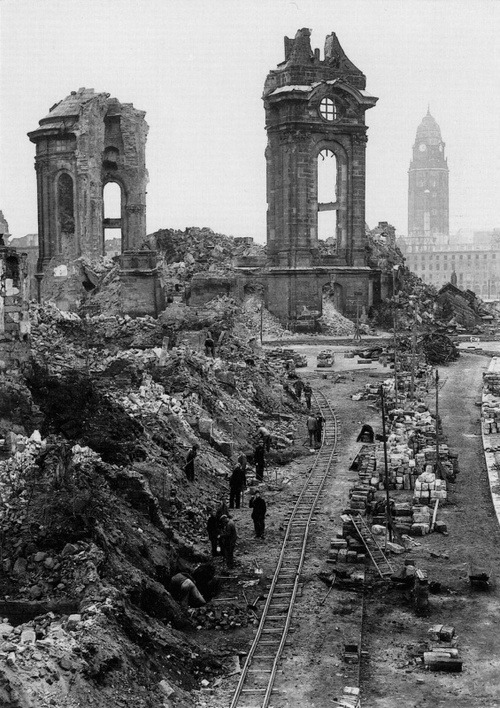 sinuses:  Civilians beginning the long task of clearing the ruins of Dresden Frausenkirche, 1952.  One of the most important Lutheran churches in Dresden, it was completely destroyed in an Allied bombing raid in February 1945. Its rebuilding was finished in 2004; the interior in 2005 and was reconsecrated in October the same year.