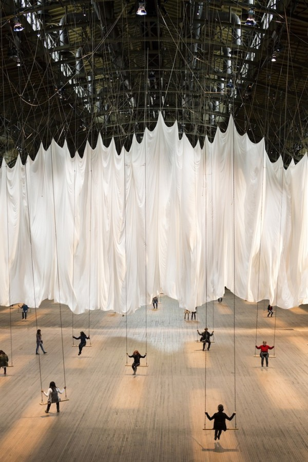 "vvolare:  ""The Event of a Thread"" is a large scale interactive swing installation by Ann Hamilton  I can remember the feeling of swinging—how hard we would work for those split seconds, flung at furthest extension, just before the inevitable downward and backward pull, when we felt momentarily free of gravity, a little hiccup of suspension when our hands loosened on the chain and our torsos raised off the seat. We were sailing, so inside the motion—time stopped—and then suddenly rushed again toward us. We would line up on the playground and try to touch the sky, alone together."