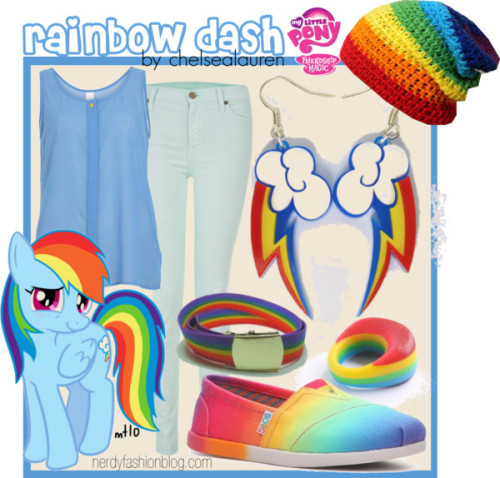 Rainbow Dash | My Little Pony - Friendship is Magic by chelsealauren10  VILA shirt, $27 / Skechers bobs shoes / My Little Pony  jewelry / Rainbow hat / Belt