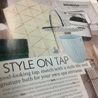 Style on Tap. The Abey 'Fontana' gooseneck showerhead features in  Belle Magazine (April/May #2013). #abey #shower #design #bellemagazine #style #functional #bathroom