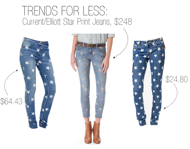 Current/Elliott's star print Stiletto jeans are a best-seller, but bless you if you spend $248 American dollars on something so trendy. Try these instead: ASOS's Only Star Skinny Jeans ($64.43) or Forever 21's Star Print Skinny Jeans ($24.80).