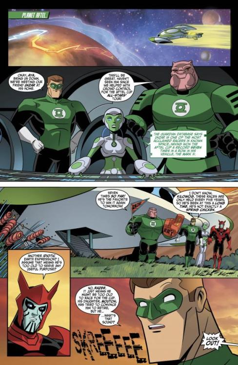 The race is on in GREEN LANTERN: THE ANIMATED SERIES #13! Get a preview here: [link] Lobo is our guest star this month. Buy the issue at your local comic book store or online at Comixology starting tomorrow! This is the second to last issue Fanterns.