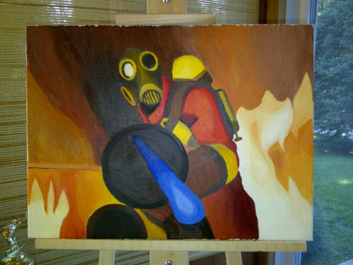 "fuckyeahtf2:   Pyro from Team Fortress 2 - runnerman1 Here is my painted attempt of the pyro from ""Meet the Pyro"" @ 1:56 sec. Hope you guys enjoy.  Sorry guys, I'm a huge fan of stuff done on canvas. Soooo pretty. -ArtSanity"