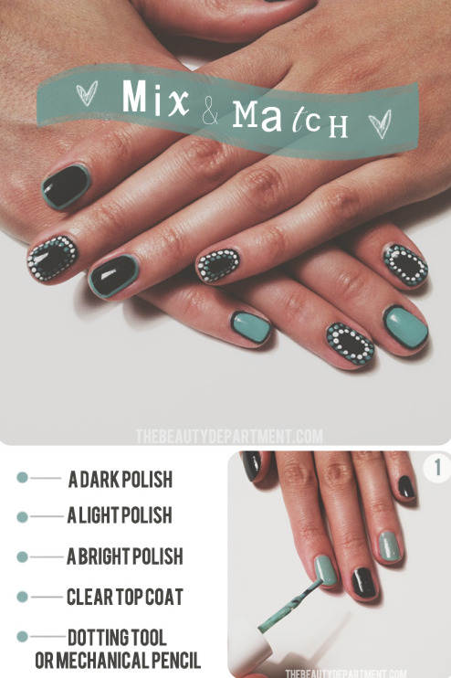 DIY Dotted and Lined Mix and Match Nail Art from The Beauty Department here.  For lots more doable nail art go here: truebluemeandyou.tumblr.com/tagged/nail-art
