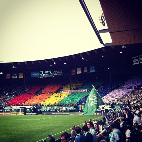 Timbers Army is the real deal. Great Stadium environment. @timbersarmy #roadtrippin #lifeisgood  (at JELD-WEN Field)