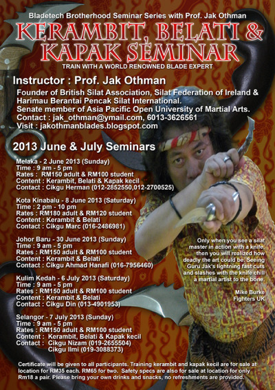 Blade fighting seminar by my teacher, Professor Guru Jak Othman.