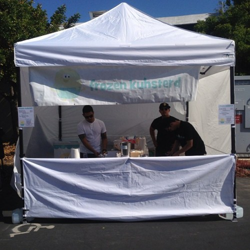 We're open for business at @makerfaire in #sanmateo.  Both days - Sat and Sun.  Flavors - @fourbarrelcoffee and vanilla. #frozenkuhsterd #frozencustard #makerfaire #tentsetup #sanfrancisco #bayarea  (at Maker Faire)