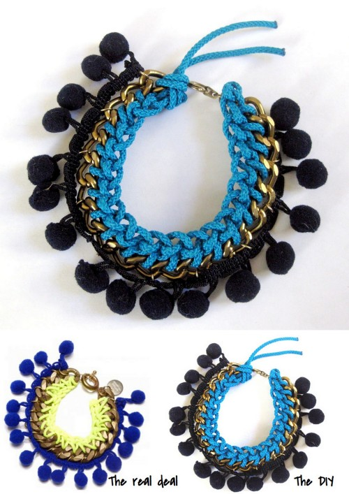DIY Knockoff Matthew Williamson Pompom Bracelet Tutorial from Thanks, I Made It here.Bottom Left Photo: $275 Matthew Williamson bracelet here, All Other Photos: DIY by Thanks, I Made it. This is an excellent tutorial from Erin. For more pompom DIYs go here: truebluemeandyou.tumblr.com/tagged/pompoms. For more DIY knockoffs go here: truebluemeandyou.tumblr.com/tagged/knockoff. For Matthew Williamson knockoffs go here: truebluemeandyou.tumblr.com/tagged/matthew-williamson