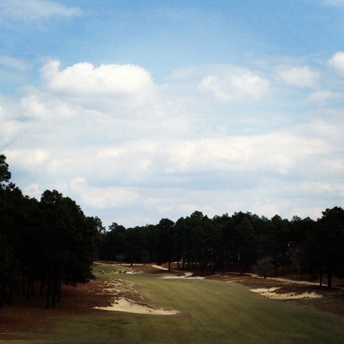 Just finished Pinehurst #2. Loved it, especially the sandy look. There is one irrigation line. Whatever doesn't get sprayed is completely natural. (at Pinehurst No. 2 Golf Course)