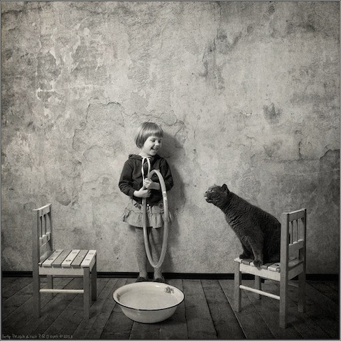 A Girl and Her Cat by Andy Prokh