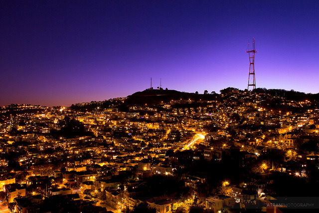 King of the Hill on Flickr. The view of the Sutro Tower and surrounding neighborhoods from Corona Heights Peak. I'm here in San Francisco vacationing for a week before I start my internship at Silicon Valley. My first full day here and I ran, walked, and hiked a total of 10 miles in the city. All was worth it, especially this view from the top of Corona Heights!