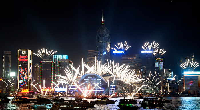 HONG KONG (1/1/13) - Fireworks explode over Victoria harbour to celebrate the new year, in Hong Kong on January 1, 2013. This fireworks display follows the celebration earlier in Sydney, Australia and other neighbouring cities. Hong Kong's countdown celebration was recently ranked as one of the top 10 places to welcome the New Years by CNN. Photo by Justin Chin