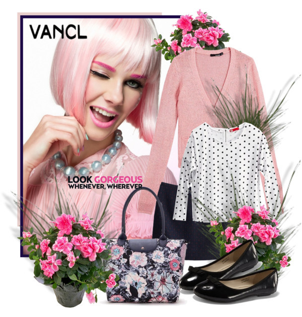 SHOP - VANCL by ladymargaret featuring flat shoes ❤ liked on PolyvoreLong sleeve tee / Flat shoes / Print tote bag