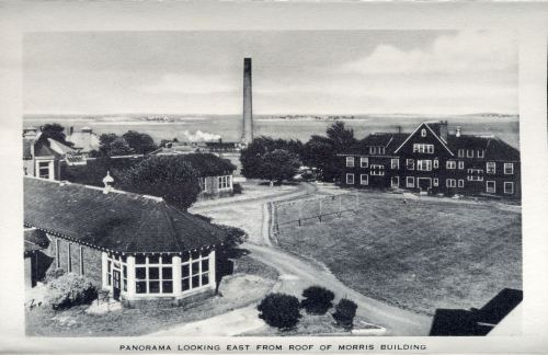 Panorama looking east from roof of Morris Building, circa 1949,  Long Island Hospital records, (Collection #8500.200) City of Boston Archives  This work is free of known copyright restrictions.  Please attribute to City of Boston Archives. For more images from this collection, click here