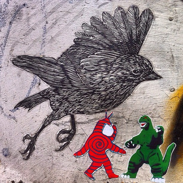 Monster Battles (2012 repost) #jawso #streetart #brooklyn #nyc @squidmonkeyinstitute #stickerart