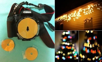 "thedailywhat:  Create Your Own ""Bokeh"" Photographs  Here's a cool trick you can try out with your SLR camera. All you need is a large aperture lens (ex: 50mm / F1.8) and a sheet of opaque paper or cardboard. The out-of-focus dots that you see in theimage are known as ""Bokeh,"" a term which is derived from the Japanese word meaning ""blur."" 1) Create a fake lens hood with the paperboard by cutting out a hole in the shape of your choice. 2) Place the hood over the lens and see how it looks through the viewfinder. 3) Set your camera to its lowest aperture value or bulb exposure. Have fun!"