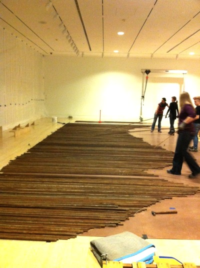 absolumentmoderne:  Ai Weiwei's Straight taking shape in Indianapolis.  Come see the finished work after April 5.