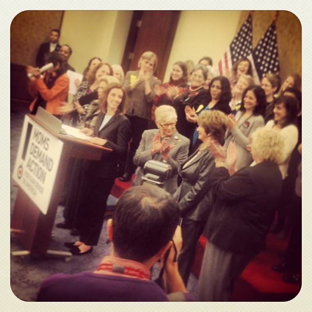 jodyfisher:  @momsdemand presser with #Pelosi #Feinstein #Boxer #McCarthy #Maloney #Esty #Delauro and 200 moms to get #commonsensegunlegialation (at U.S. Capitol - House Of Representatives)