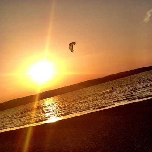 A beautiful evening for kite boarding on West Grand Traverse Bay. #TCMI