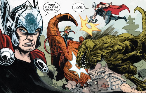 comicbookviolence:  Avengers: The Enemy Within #1 Tag Team Match: Team T-Rex v. Thor and Captain Marvel