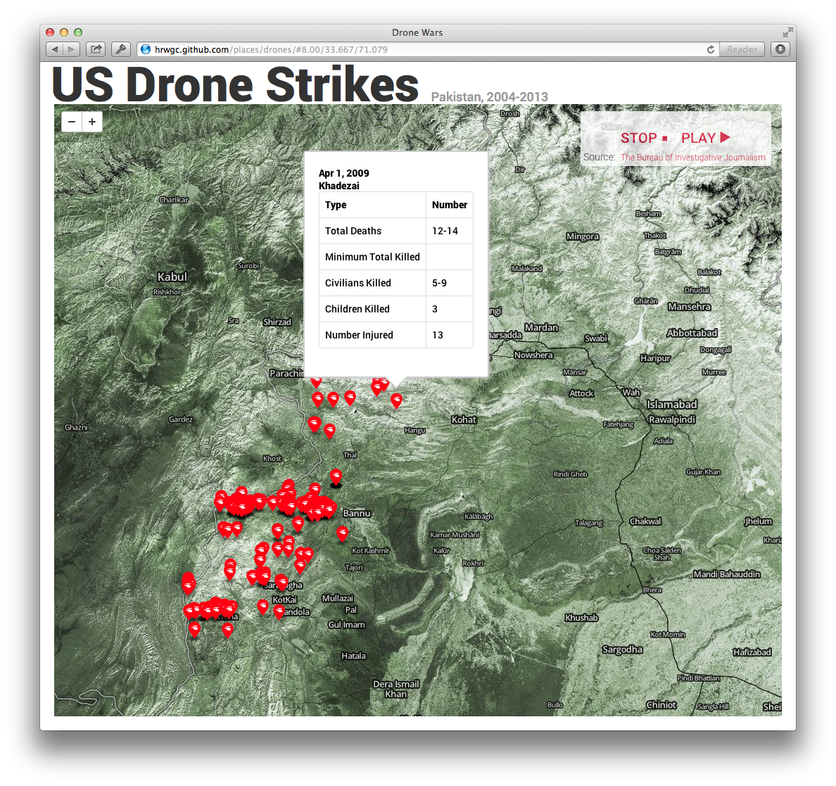 "How to Create a Live Feed of U.S. Drone Strikes with MapBox Last Thursday the United Nations opened an inquiry into the ""civilian impact of the use of drones and other forms of targeted killing."" Data - data about casualties, targets, frequency, and other topics - will play an important role in this investigation, led by the UN special rapporteur for human rights and counterterrorism. Visualization can add important context to help the public follow this inquiry. Adding markers dynamically can be a serious game-changer for visualizations using time-sensitive data, and something that you can do with MapBox."""