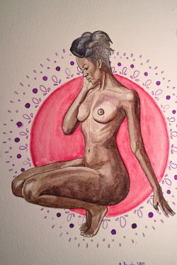 "pussylequeer:  ""for nivi""9x6watercolor and india ink on paperby Amanda Panglewww.apangle.tumblr.com"