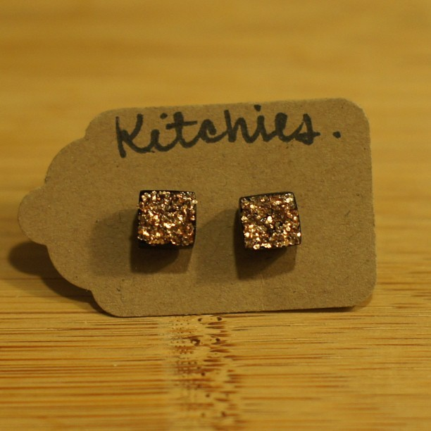 shop is live! my favorite pair #kitchies #etsy #handmade #jewelry #earrings #stud #glitter