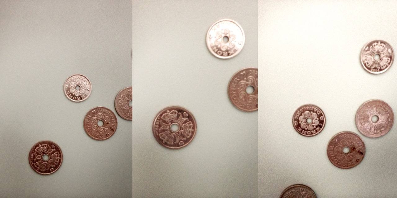 Some coins gathered for dramatic effect.