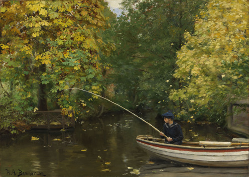 poboh:  Boy Fishing, Hans Andersen Brendekilde. Dnish (1857 - 1942)