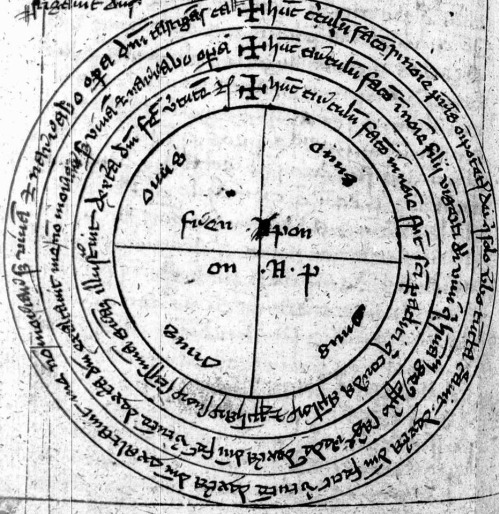 A magic circle from the Liber incantationum, exorcismorum et fascinationum variarum Clm 849 - BSB more commonly referred to as the Munich Necromantic Manual.