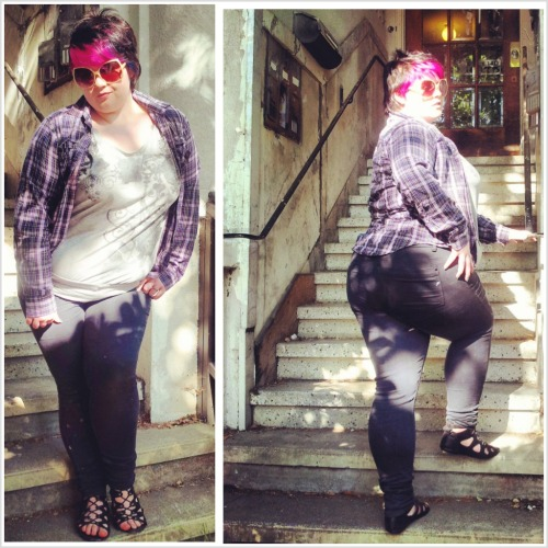 spoookyghost:  Jeans: F21+ Sandals: Claire's I think. They're hella old. Top: Lane Bryant hand me down from an old manager Flannel: Jenny's. We own a lot of flannels. I think this one in particular was thrifted. Sunglasses: H&M