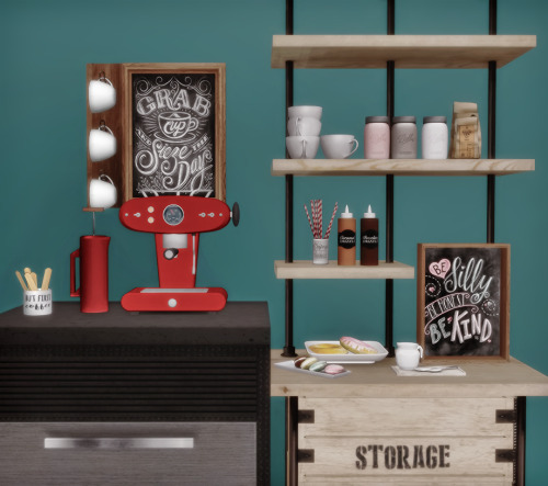 AnYe Coffee Set and Shelf for The Sims 4