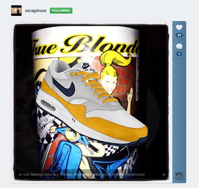 Je suis blonde, natural;-). #airmax #teamnike. Make yours at http://Nike.com/photoid  http://instagram.com/p/YQOdXmwLkP/