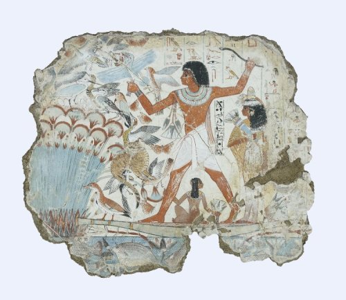 Fishing and Fowling scene from the tomb of Nebamun 1350 BC 18th Dynasty, New Kingdom Fragment of a polychrome tomb-painting representing Nebamun, standing in a small boat, fowling and fishing in the marshes, his wife stands behind and his daughter sits beneath, he holds a throw-stick in one hand and three decoy herons in the other, his cat is shown catching three of the numerous birds which have been startled from the papyrus-thicket.  (Source: The British Museum)