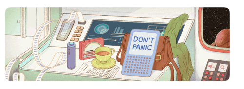 Google is always so profound with its references. Happy birthday, Douglas Adams!