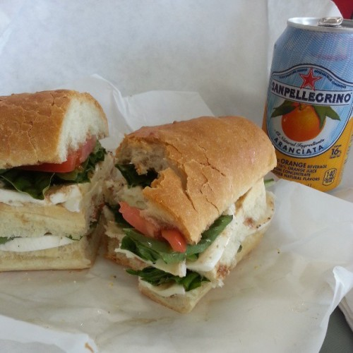 Happiness is…a huge caprese and a San Pellegrino.