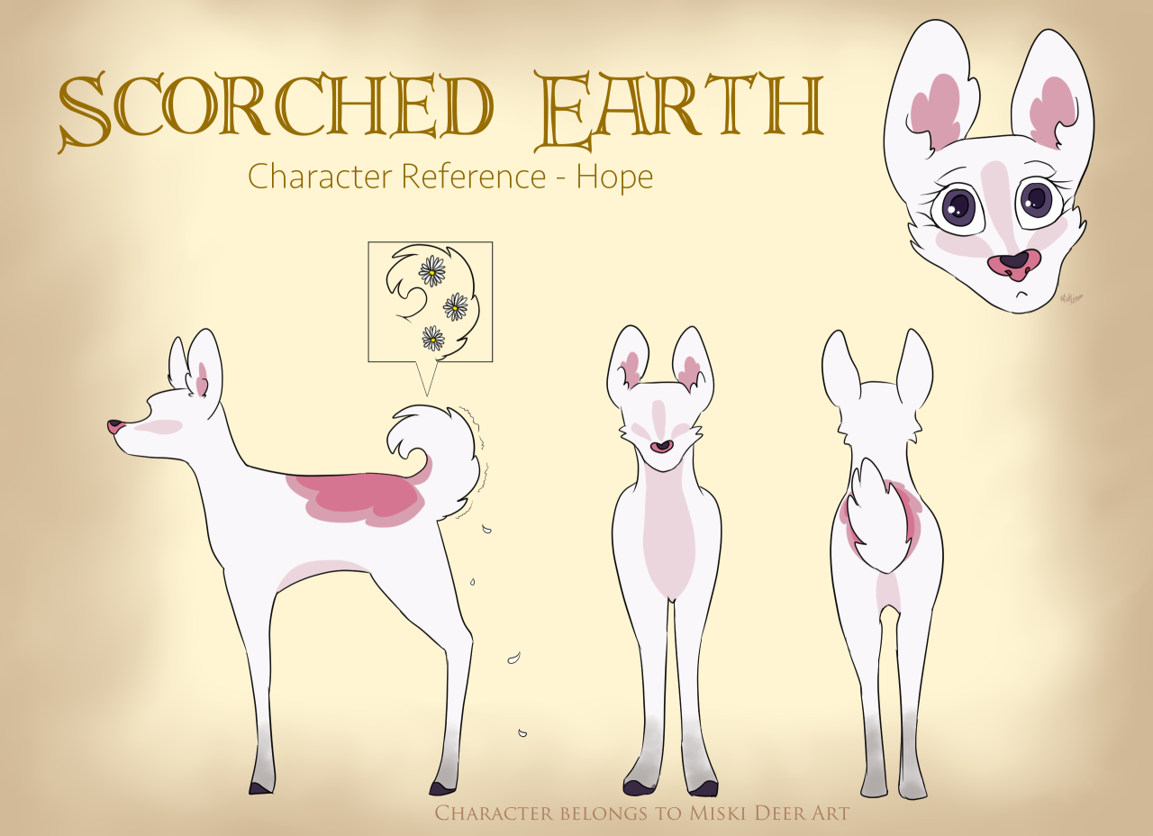 Scorched Earth OfficialCharacter Sheet - Hope______________________________________  Scorched Earth is a story that follows Hope, a curious deer who wants more from tribe life. Something is rotten in Hibernia and she aims to discover a past her elders are desperately trying to forget. Joining her are four tribe mates that are as different as night and day. Can she discover the truth in time and stop history from repeating itself?  ______________________________________  Art (c) me Hope (c) me #scorched earth#scorchedearth#hope concept#hope #hope scorched earth  #scorched earth hope  #scorched earth characters  #scorched earth official #hope deer#cute deer#deer art#deer #deer scorched earth  #scorched earth deer #story #scorched earth story #digital#digital art#digital painting#Digital Illustration#Digital Media#pink deer#pink doe#doe#deer illustration#drawing#art#character deer#character reference #character ref sheet