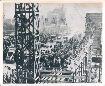Opening of the Michigan Ave Bridge, May 14, 1920 (ornamentation added later), Chicago.
