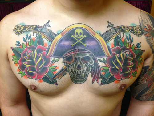 healed pic of this Jolly Roger chest piece … good times … www.taylormadetattoo.com