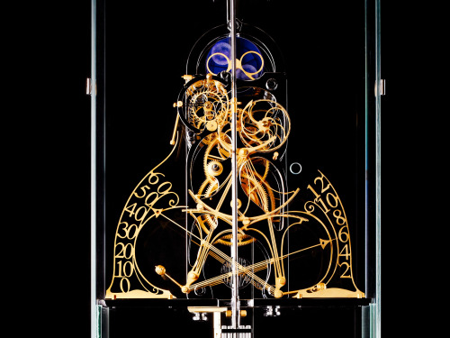 The Hippocampus Clock at Geneva's M.A.D. Gallery. Dual Retrograde, Moonphases, and a unique chime every hour for over 100 years.