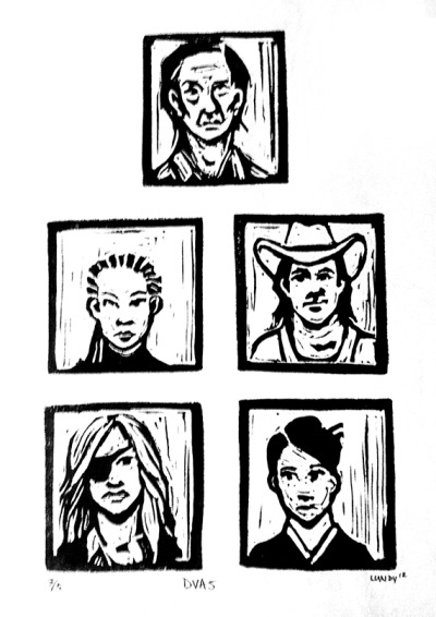 The Deadly Viper Assassination Squad. (Rubber block print, ink on paper, 2012)